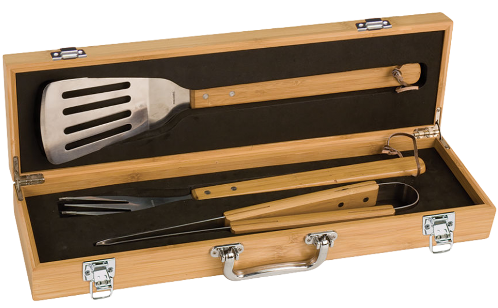 Customized Funny Father's Day BBQ 3-Piece Tool Set for Barbecue Master Dads-Sustainable Bamboo thanksthoughts.com