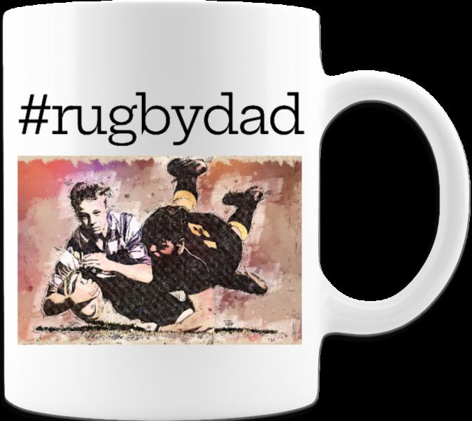 Funny Father's Day Coffee Mug #RugbyDad sports fanatic-White