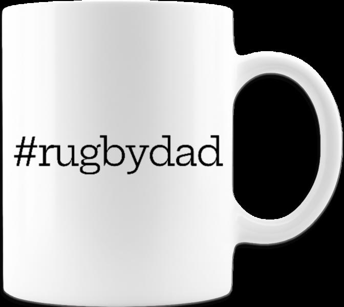 #RugbyDad Father's Day Mug-White